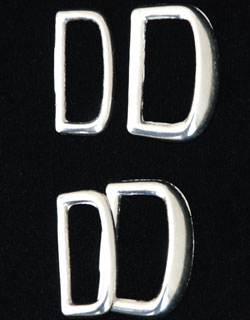 Nickel-plated Brass Dees, 1 inch, two sets