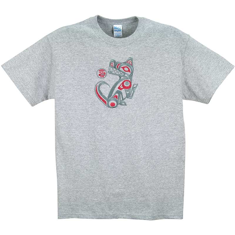 Wolf Embroidered T-Shirt, Gray
