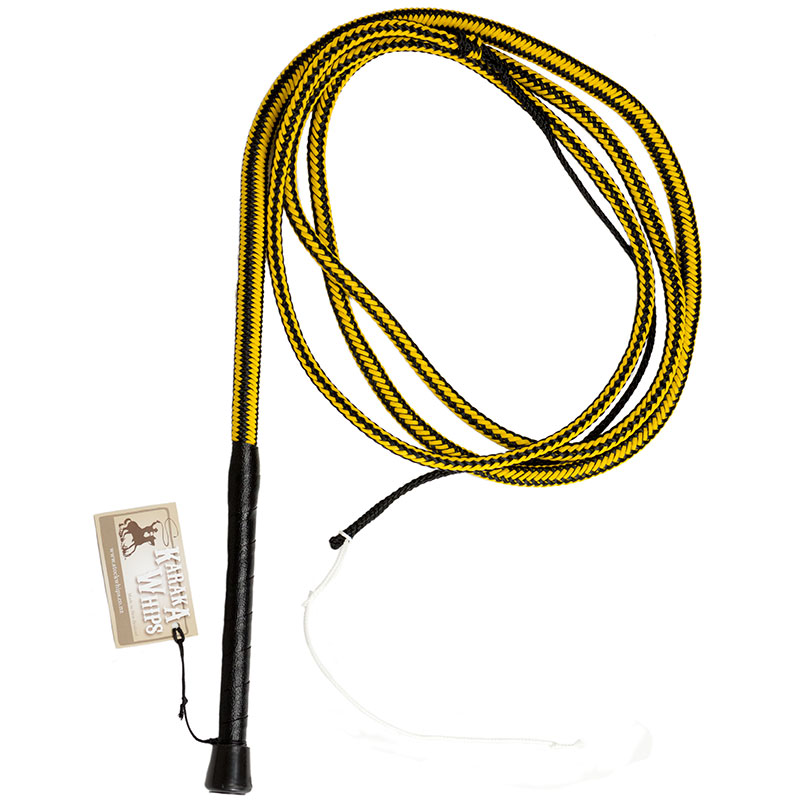 Tough-1 Waxed Braided Nylon Bull Whip with Leather and Nylon Cracker 8ft Natural