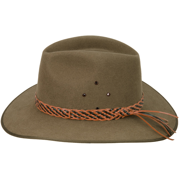 Two Tone Hat Band, Natural Tan Edge, shown on the #1616 Coober Pedy by Akubra