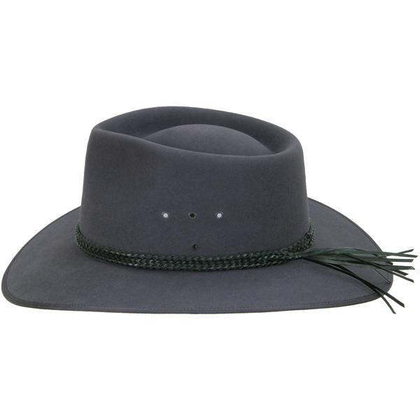Black Edge Ridge Hat Band, shown on the #1613 Cattleman by Akubra