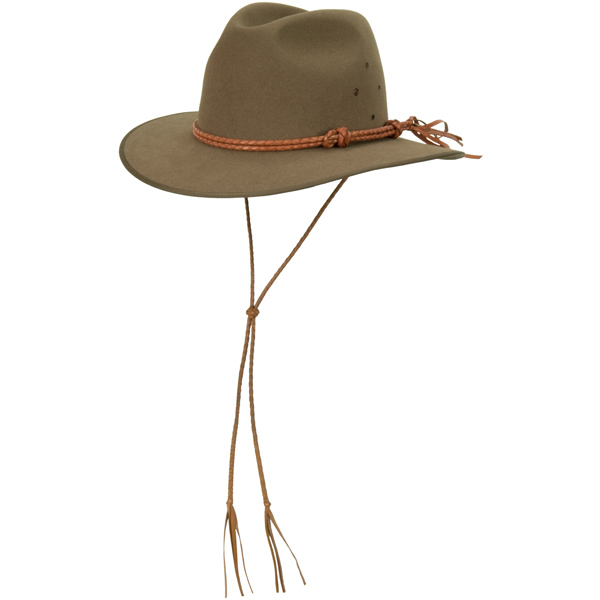 Chin Strap shown on the #1616 Coober Pedy by Akubra. The #885 Double Round Hat Band is also shown.