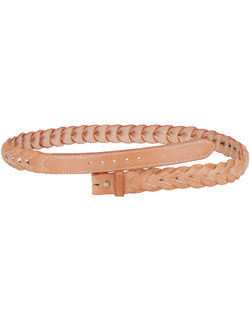 Slit-Braided Bridle Leather Belt, Natural