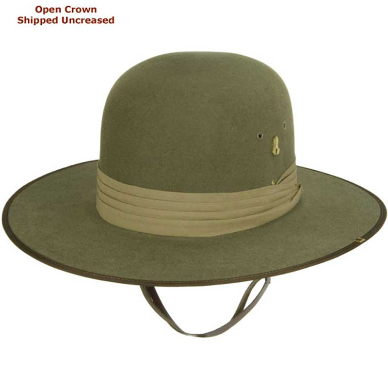 Aussie Slouch Hat, Open Crown  : Open crown hats are shipped uncreased, allowing you to put your own personal bash or crease in the crown.