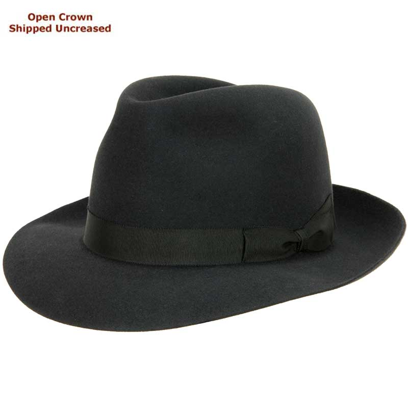 Sydney Hat by Akubra, Charcoal, shown with a Pinched Telescope Bash