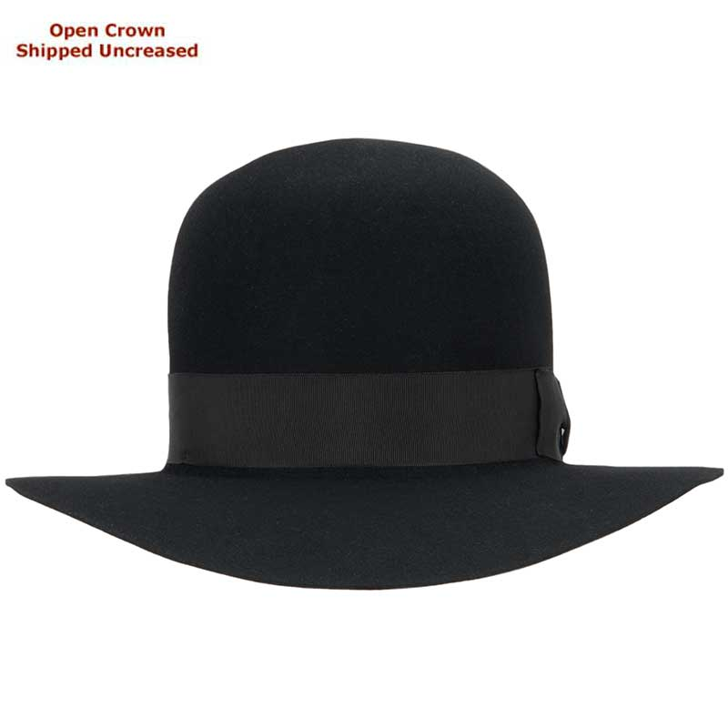 Adventurer, Black, Open Crown  : Open crown hats are shipped uncreased, allowing you to put your own personal bash or crease in the crown.