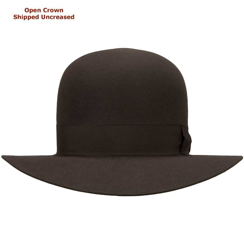 Adventurer, Mid Brown, Open Crown  : Open crown hats are shipped uncreased, allowing you to put your own personal bash or crease in the crown.