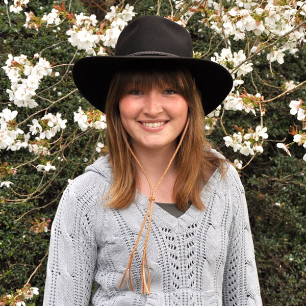 Cattleman Hat by Akubra plus our braided leather Chin Strap, worn by Elena from Germany