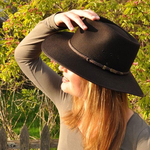 Dark Brown Cattleman Hat by Akubra, worn by Elena from Germany