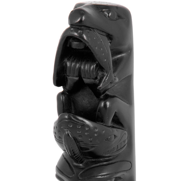 Bear-Halibut Totem Pole, detail