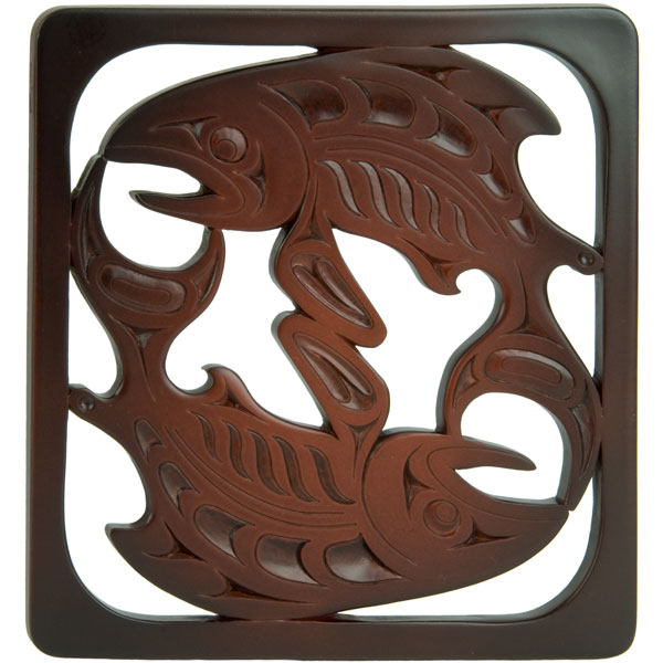 Salmon Trivet, Recycled Glass, Rosewood Color