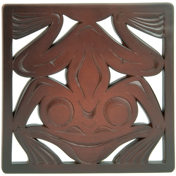 Frog Trivet, Recycled Glass, Rosewood Color
