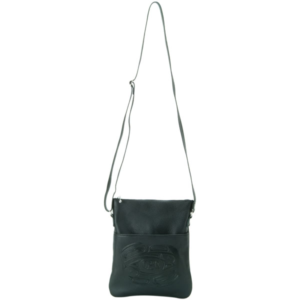 The leather shoulder strap adjusts between 28 and 48 inches in length.