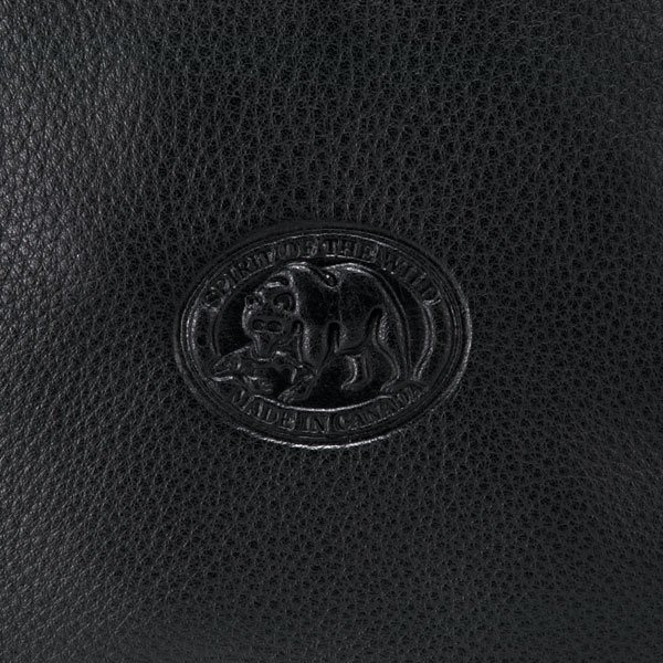 """Leather Wristlet : The back of the wristlet is embossed with Panabo's """"Spirit of the Wild - Made in Canada"""" symbol."""