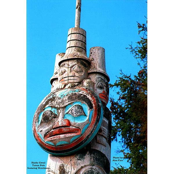 Haida Gwaii Totem Pole Featuring Watchman. Photo by Alex Fyer.