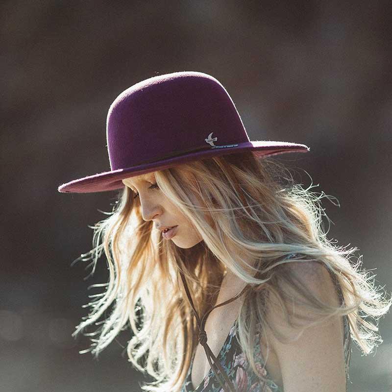 Bird & Feather Hat, Plum