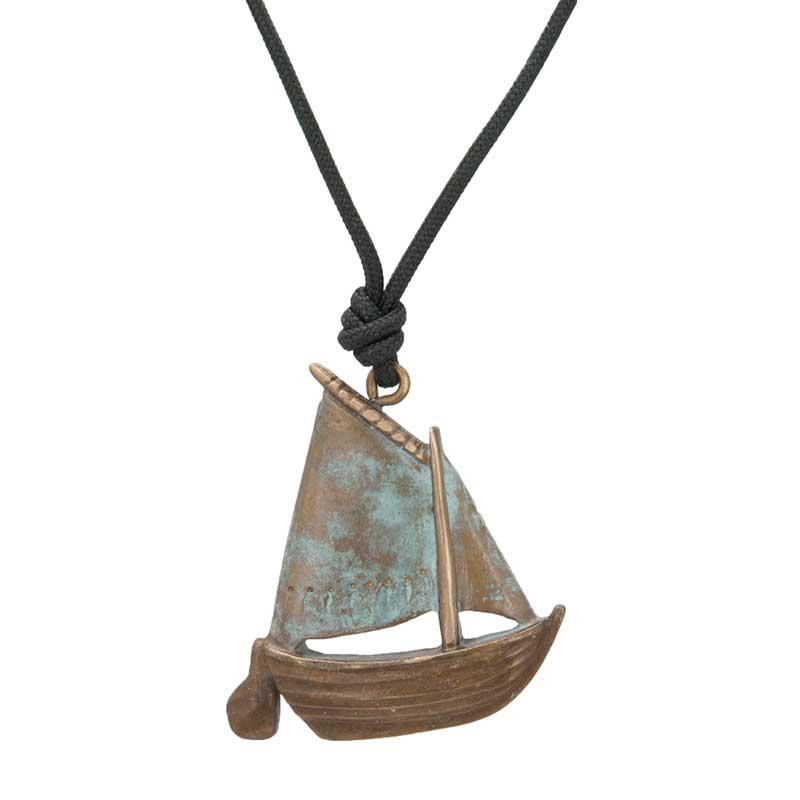 Gaff Rigged Sail Boat Pendant, Bronze