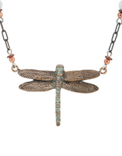 Bronze Dragonfly 6 Beaded Necklace