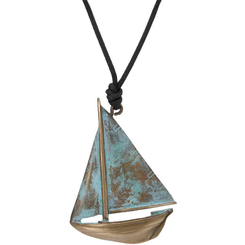 Buzzard's Bay Sailboat Pendant, Bronze