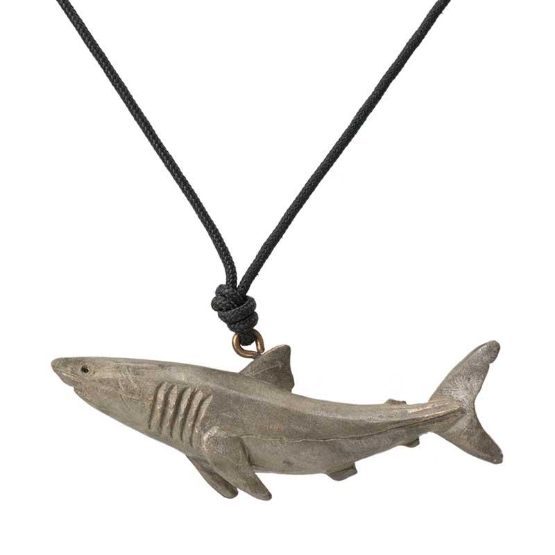 Great White Shark Pendant, Bronze