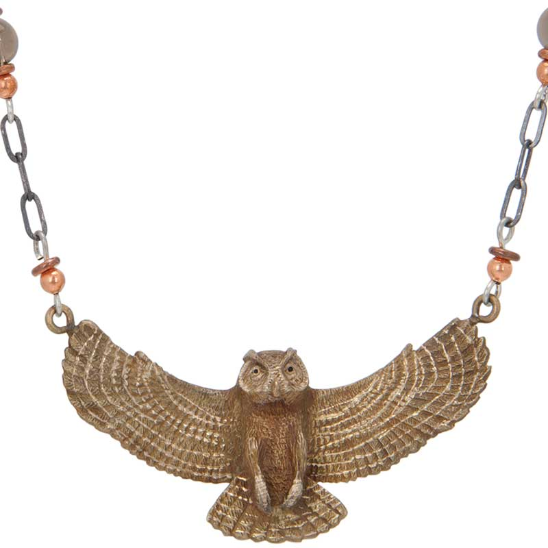 Great Horned Owl Necklace, Bronze
