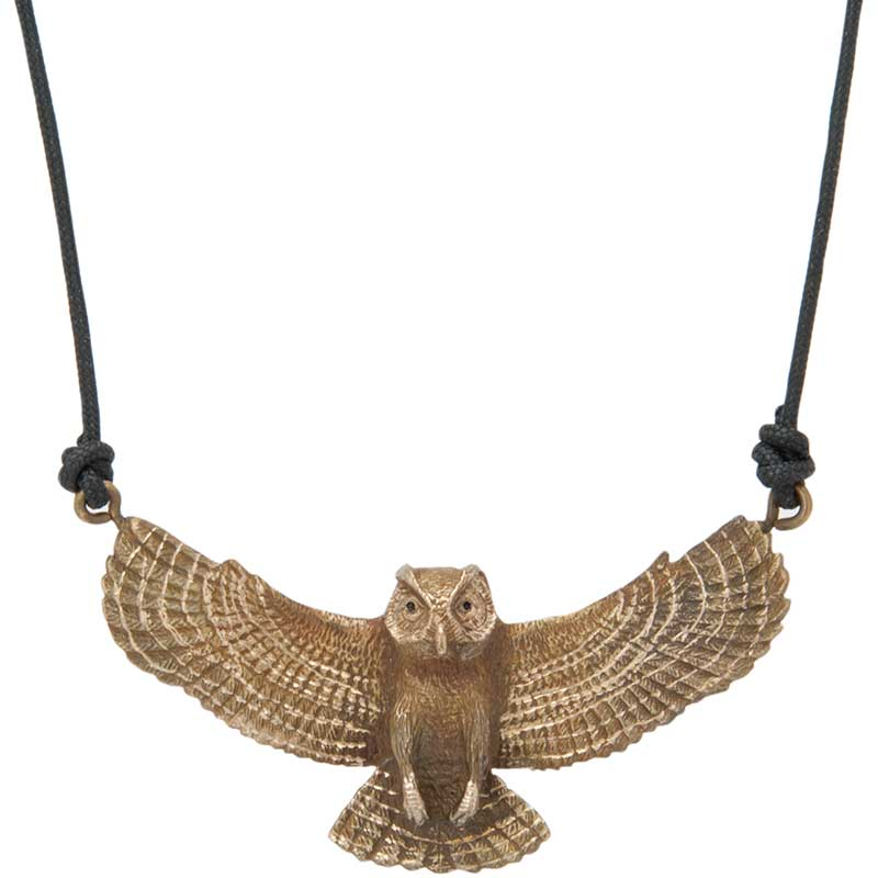 Great Horned Owl Pendant, Bronze