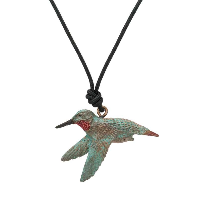 Female Rufous Hummingbird Pendant, Bronze