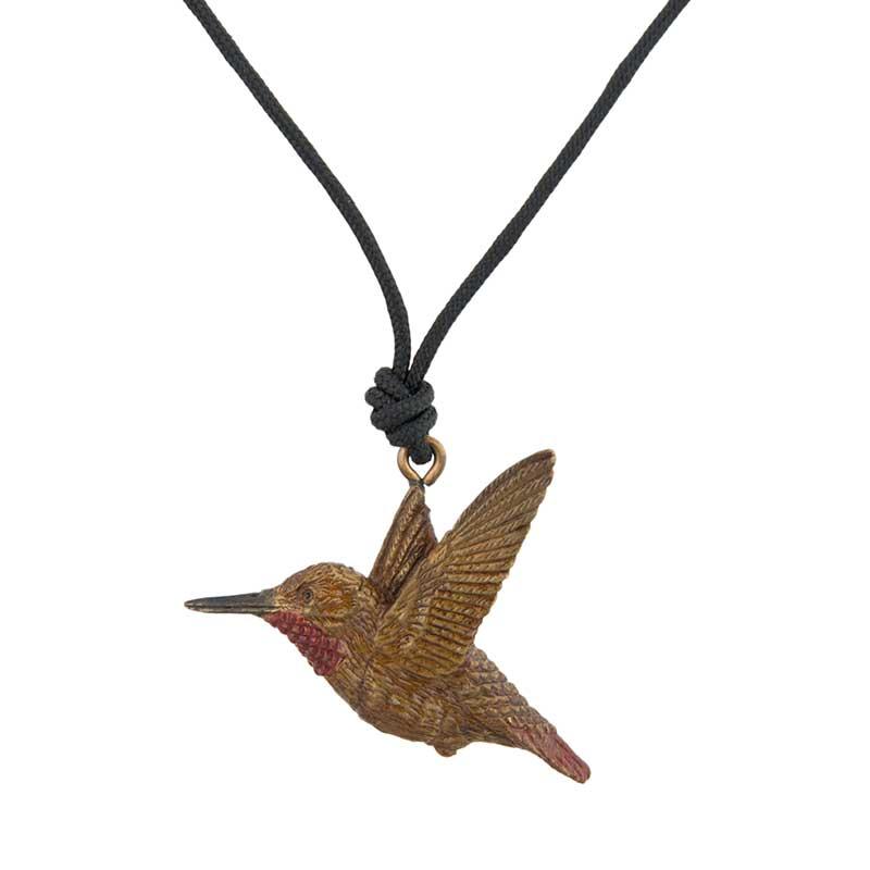 Male Rufous Hummingbird Pendant, Bronze