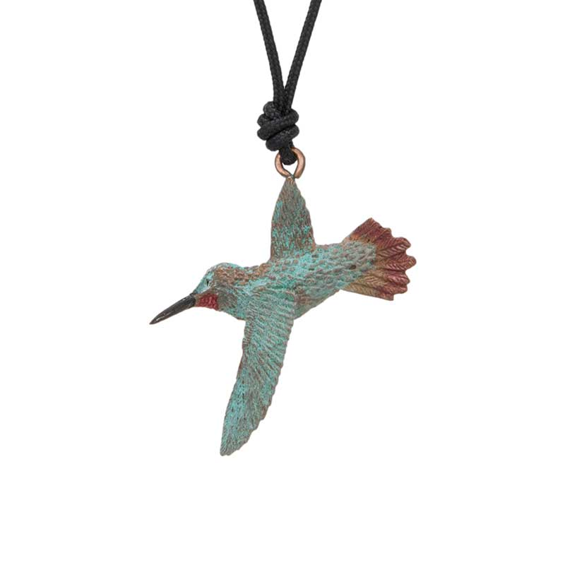 Gliding Rufous Hummingbird Pendant, Bronze