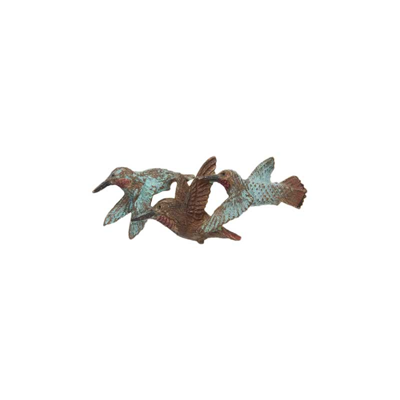 Small 3 Rufous Hummingbirds Pin, Bronze