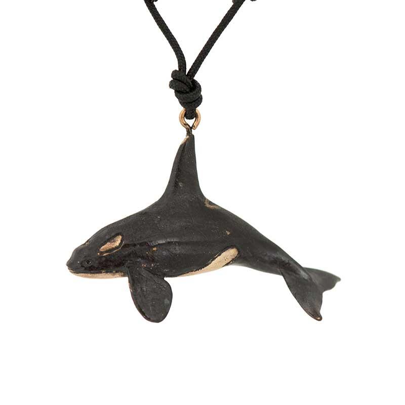 Male Orca Pendant, Bronze