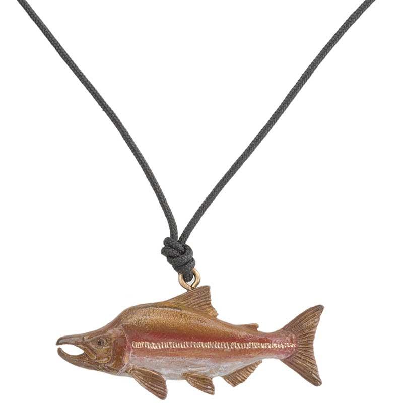 Humpback Salmon Pendant, Bronze