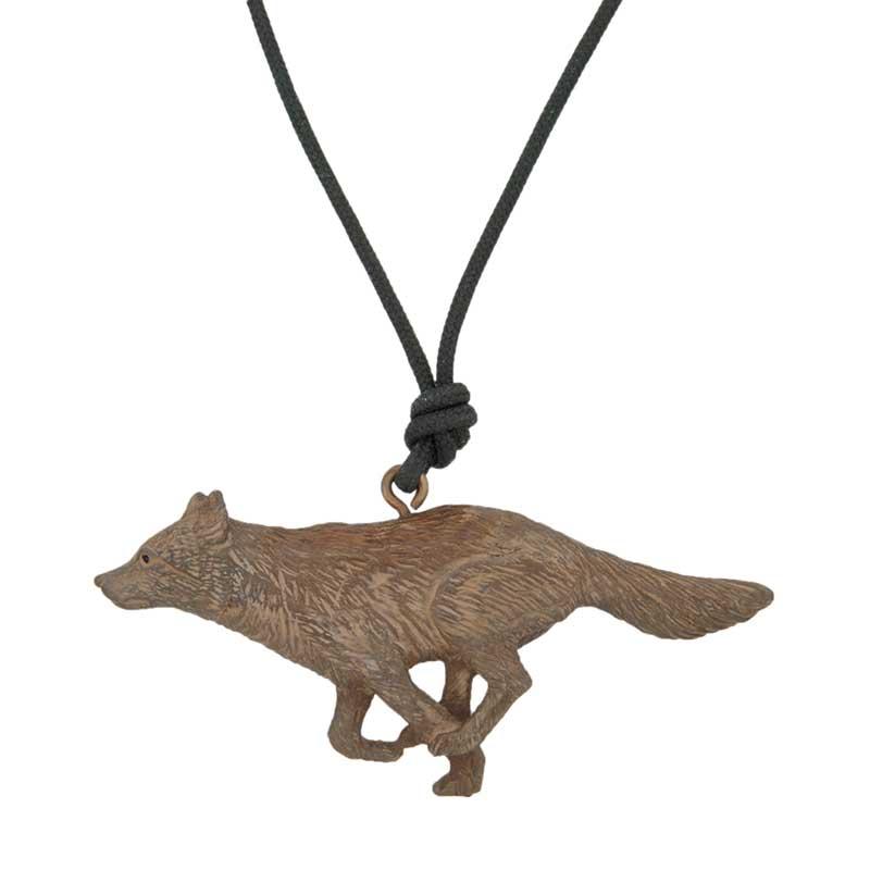 Running Wolf Pendant, Bronze