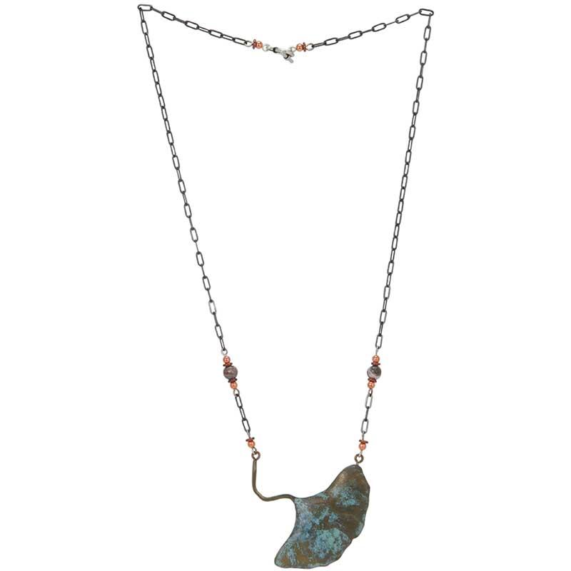Ginkgo Necklace, Bronze