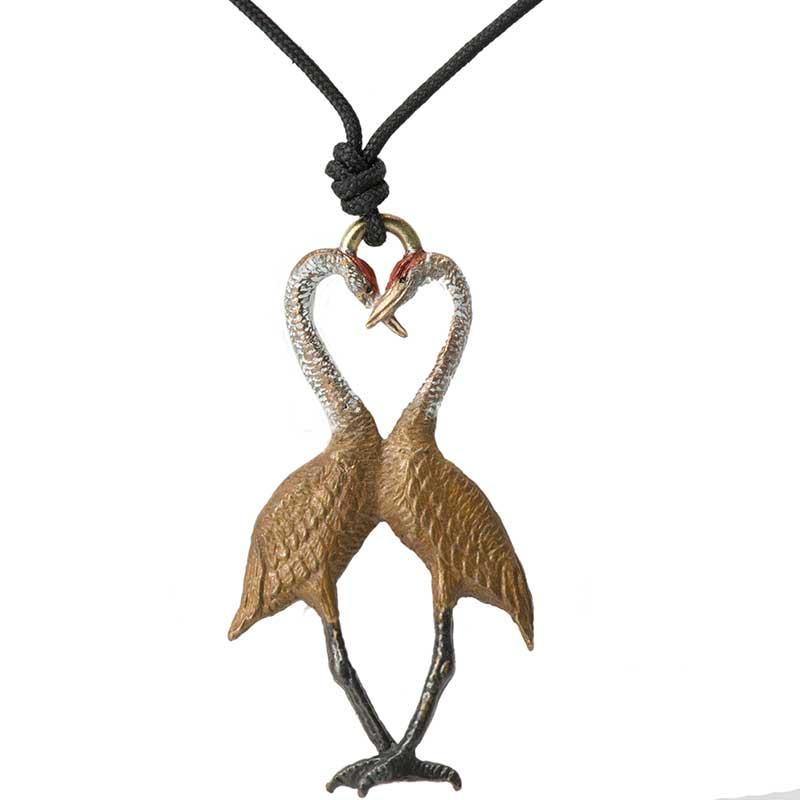 Sandhill Crane Heart Pendant, Bronze
