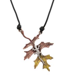 Fall Oak Leaf with Silver Lizard Pendant