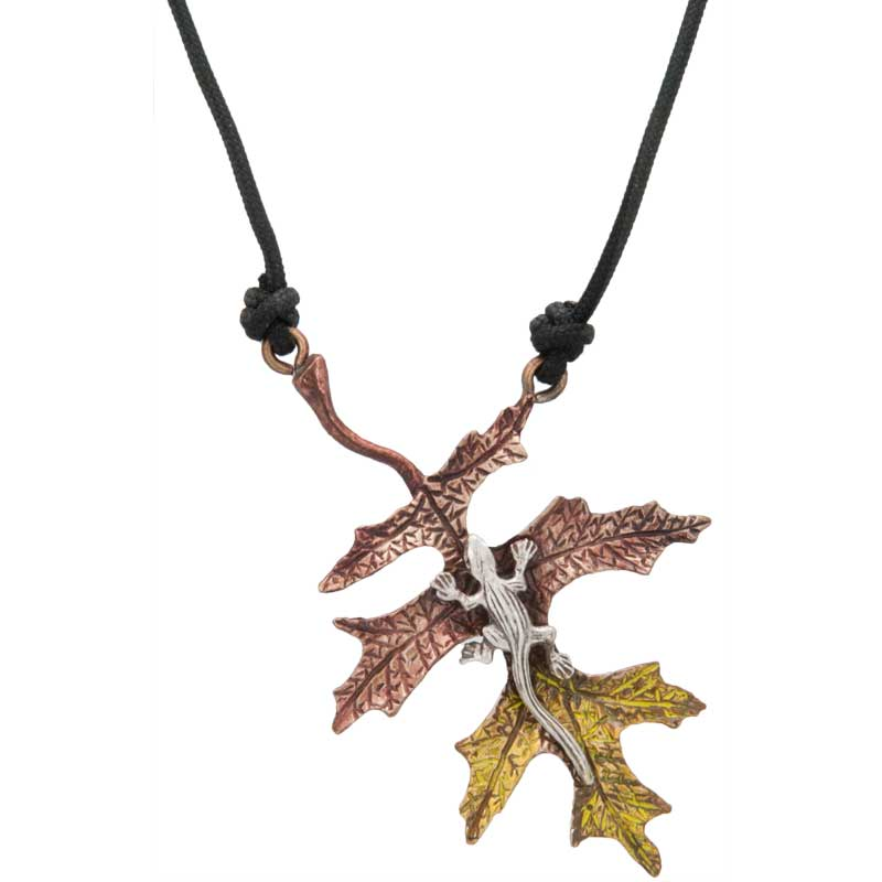 Fall Oak Leaf with Lizard, Bronze and Sterling Silver