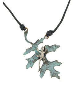 Oak Leaf with Silver Lizard Pendant