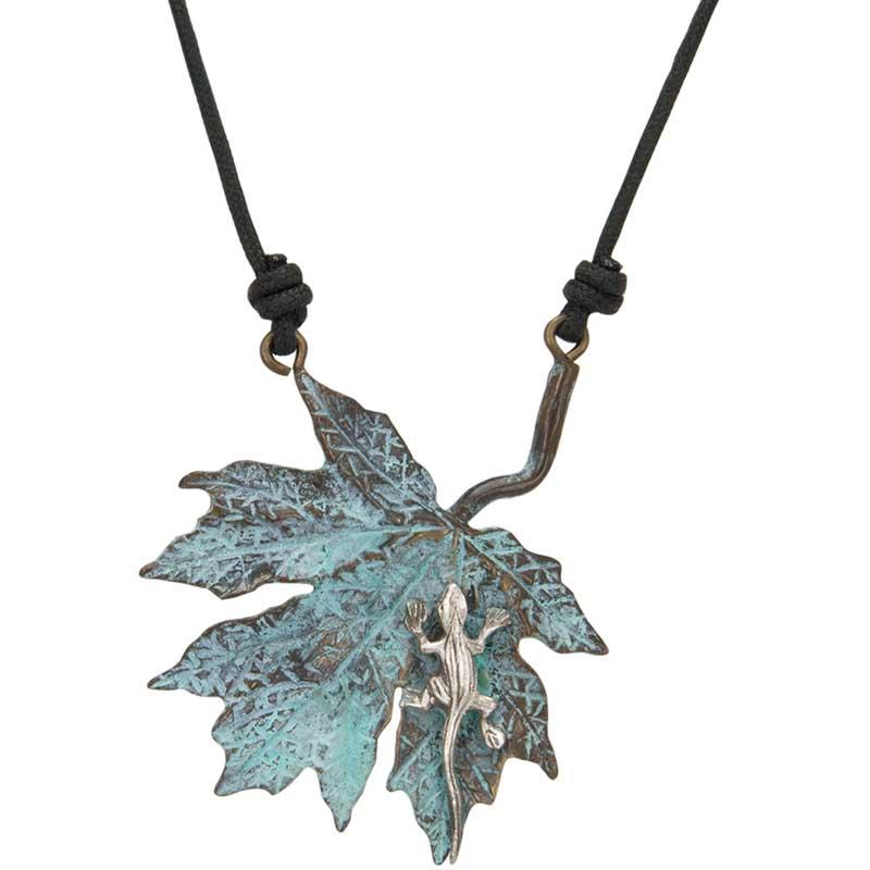 Maple Leaf with Lizard Pendant