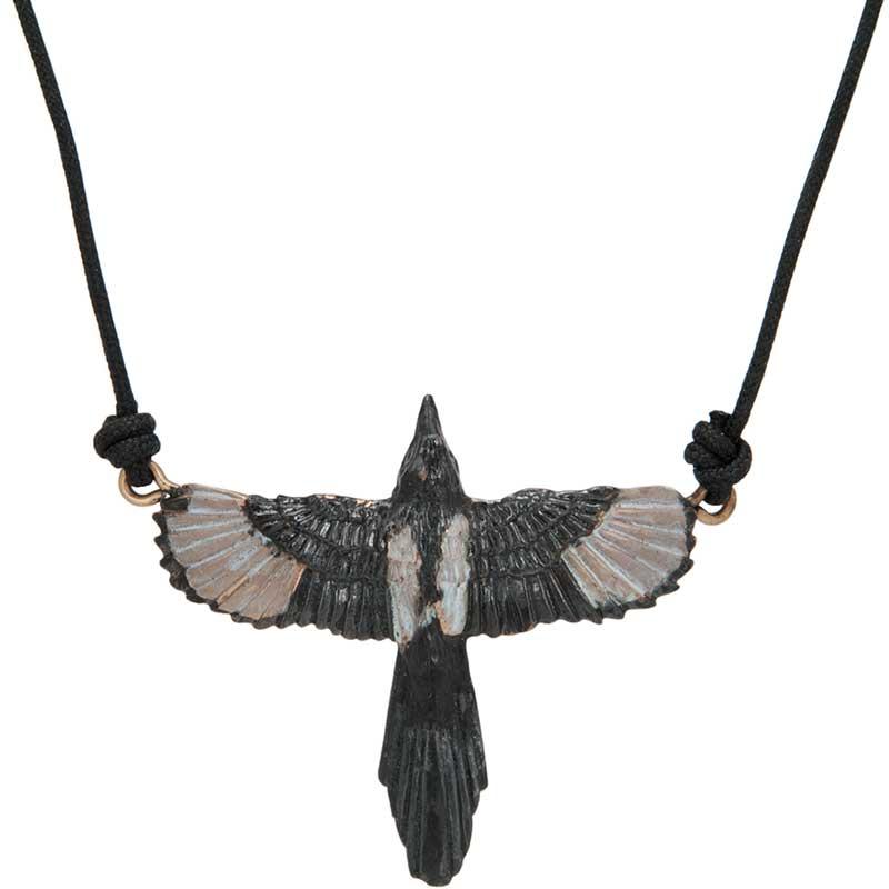 Magpie Pendant, Bronze