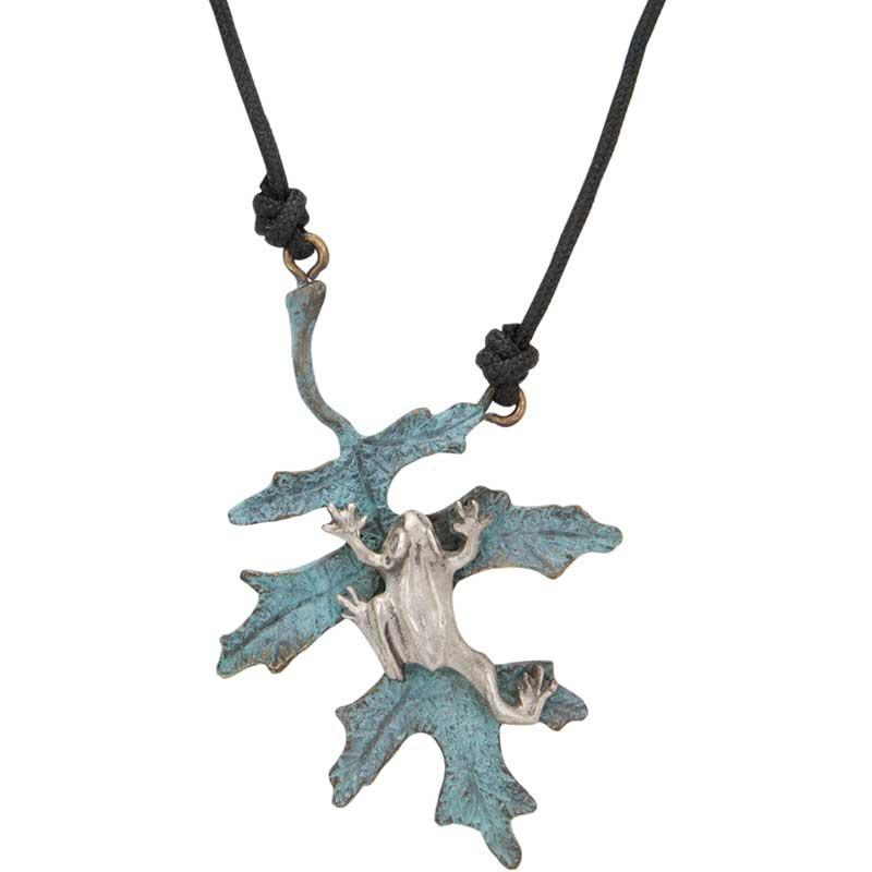 Oak Leaf with Silver Frog Pendant