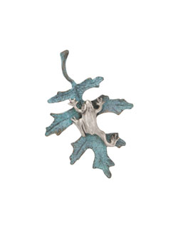 Oak Leaf with Silver Frog Pin