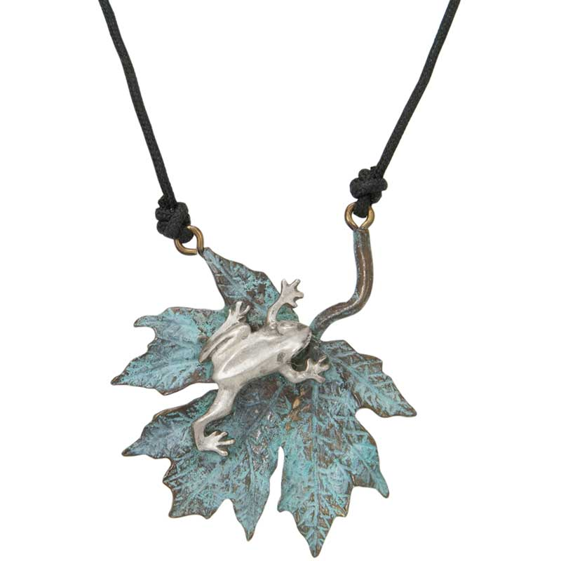 Maple Leaf with Silver Frog Pendant