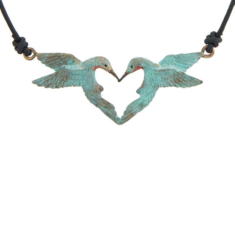 Hummingbird Heart Pendant, Bronze