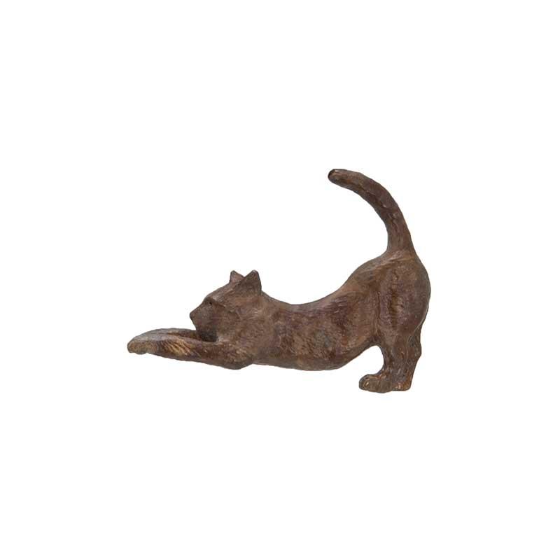 Stretching Cat Pin, Bronze