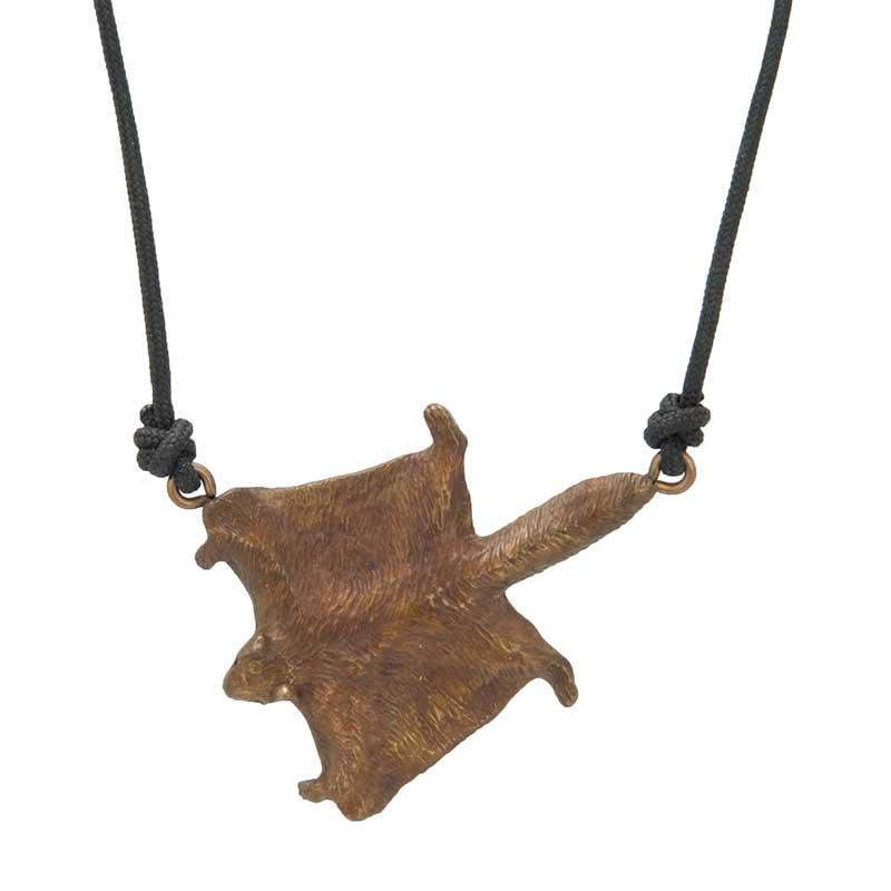 Flying Squirrel Pendant, Bronze