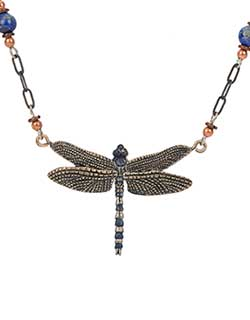 Blue Dragonfly 6 Beaded Necklace