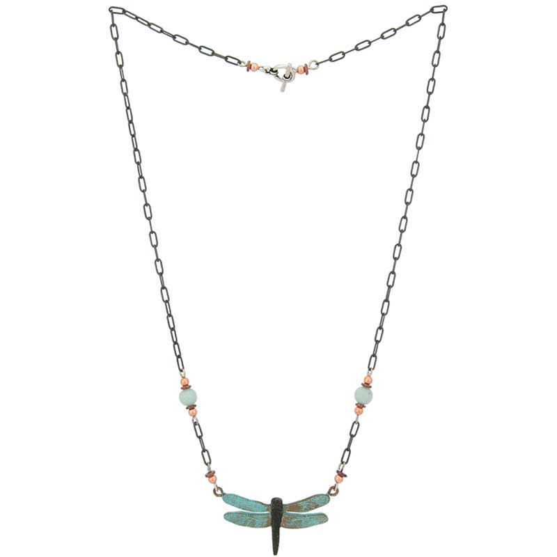 Dragonfly Necklace : Copper, heishi, and amazonite beads decorate the 18 inch antiqued silver chain with a toggle clasp.