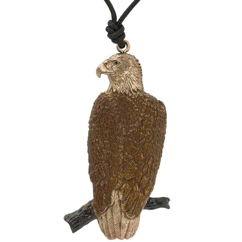 Eagle Perched Pendant, Bronze