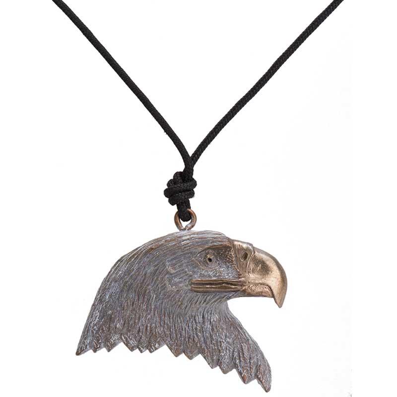 Bald Eagle Head Pendant, Bronze